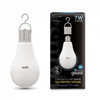 102402207 Лампа Gauss LED A60 7W E27 470lm 4100K с Li-Ion аккумулятором 1/10/60