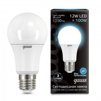 102502212 Лампа Gauss LED A60 globe 12W E27 4100K 1/10/40