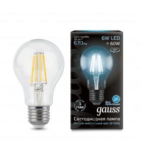 102802206 Лампа Gauss LED Filament A60 E27 6W 4100K 1/10/40