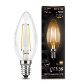 103801107 Лампа Gauss LED Filament Candle E14 7W 2700К 1/10/50, шт