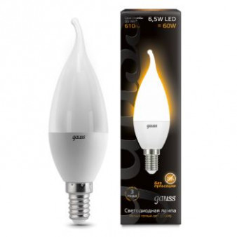 104101107 Лампа Gauss LED Candle tailed E14 6,5W 2700K 1/10/50