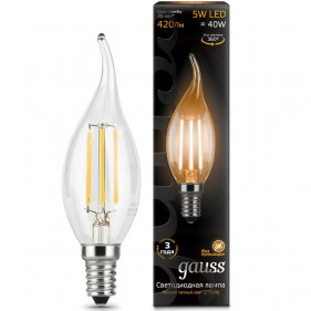 104801105 Лампа Gauss LED Filament Candle Tailed E14 5W 2700K 1/10/50