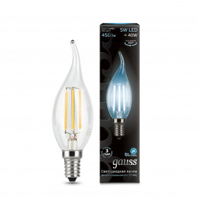 104801205 Лампа Gauss LED Filament Candle Tailed E14 5W 4100K 1/10/50