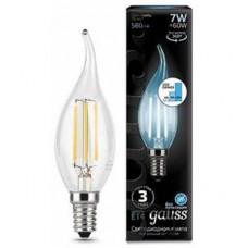 104801207-S Лампа Gauss LED Filament Свеча на ветру E14 7W 580lm 4100K step dimmable 1/10/50