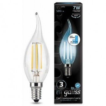 104801207-S Лампа Gauss LED Filament Свеча на ветру E14 7W 580lm 4100K step dimmable 1/10/50