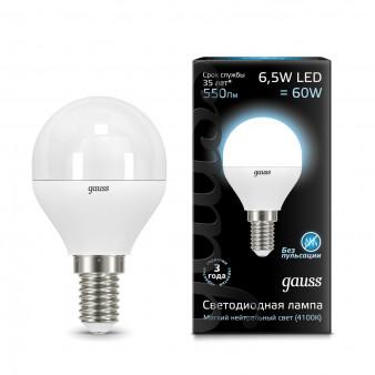 105101207 Лампа Gauss LED Globe E14 6.5W 100-240V 4100K 1/10/50