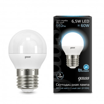 105102207 Лампа Gauss LED Globe E27 6,5W 100-240V 4100K 1/10/50