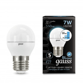 105102207-S Лампа Gauss LED Globe E27 7W 4100K step dimmable 1/10/100, шт