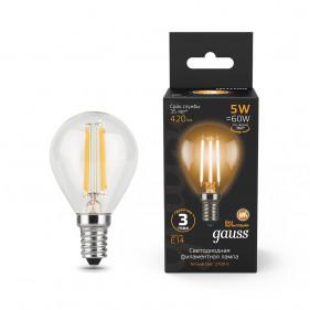 105801105 Лампа Gauss LED Filament Globe E14 5W 2700K 1/10/50, шт