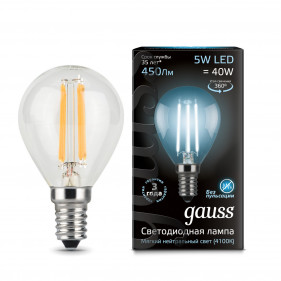105801205 Лампа Gauss LED Filament Globe E14 5W 4100K 1/10/50