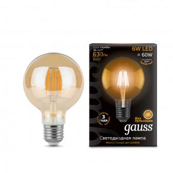 105802006 Лампа Gauss LED Filament G95 E27 6W Golden 2400K 1/20