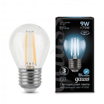 105802209 Лампа Gauss LED Filament Globe E27 9W 710Lm 4100К 1/10/50, шт