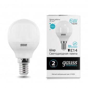 53126 Лампа Gauss LED Elementary Globe 6W E14 4100K 1/10/50