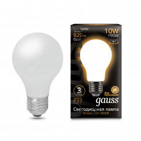 102202110 Лампа Gauss LED Filament A60 OPAL E27 10W 2700К 1/10/40, шт
