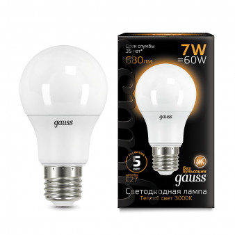 102502107 Лампа Gauss LED A60 E27 7W 2700K 1/40, шт