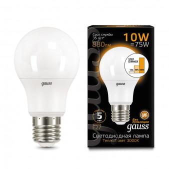 102502110-S Лампа Gauss LED A60 10W E27 2700K step dimmable 1/10/50, шт