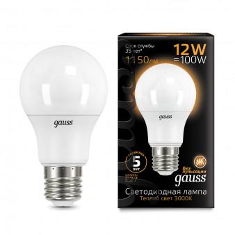 102502112 Лампа Gauss LED A60 globe 12W E27 2700K 1/10/40, шт