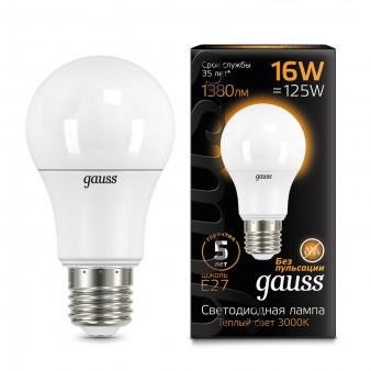 102502116 Лампа Gauss LED A60 E27 16W 3000К 1/10/50, шт