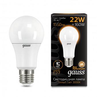 102502122 Лампа Gauss LED A70 22W E27 3000K 1/10/50
