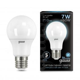 102502207 Лампа Gauss LED A60 E27 7W 4100K 1/40, шт