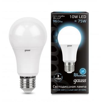 102502210 Лампа Gauss LED A60 E27 10W 920Lm 4100К 1/10/50, шт