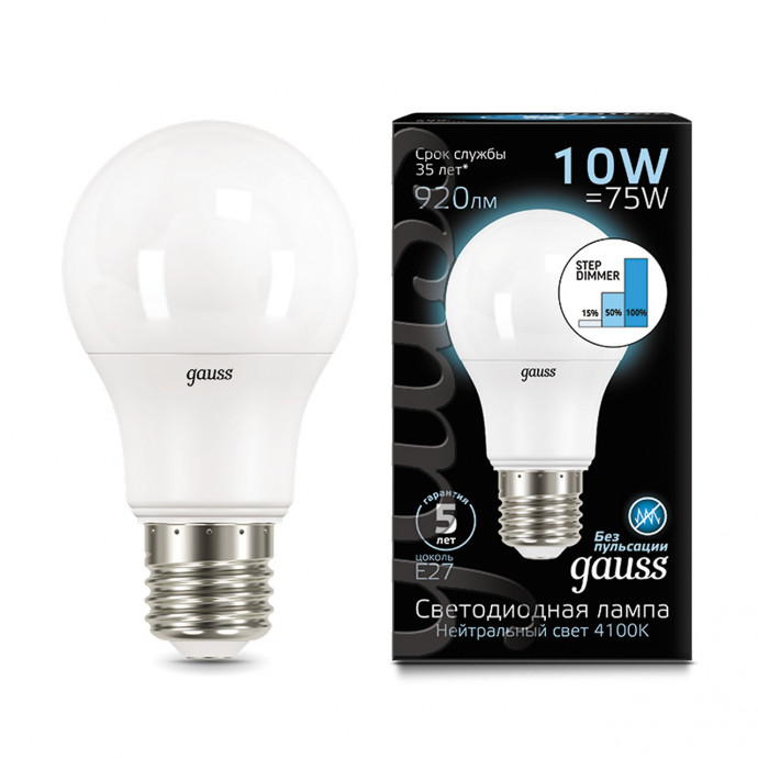 102502210-S Лампа Gauss LED A60 10W E27 920lm 4100K step dimmable 1/10/50