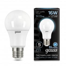 102502216 Лампа Gauss LED A60 E27 16W 4100К 1/10/50, шт