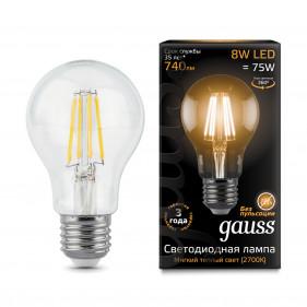 102802108 Лампа Gauss LED Filament A60 E27 8W 740Lm 2700K 1/10/40, шт