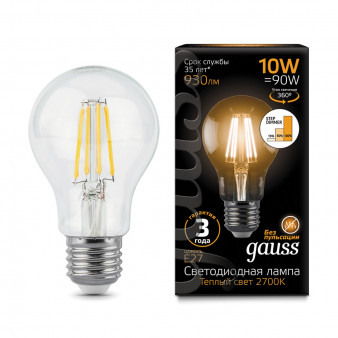 102802110-S Лампа Gauss LED Filament A60 E27 10W 930lm 2700K step dimmable 1/10/50, шт