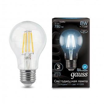 102802208 Лампа Gauss LED Filament A60 E27 8W 780lm 4100К 1/10/40