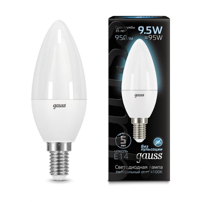 103101210 Лампа Gauss LED Candle E14 9.5W 4100К 1/10/50, шт