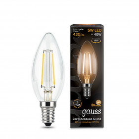 103801105 Лампа Gauss LED Filament Candle E14 5W 2700K 1/10/50, шт