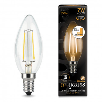 103801107-S Лампа Gauss LED Filament  Candle E14 7W 550lm 2700K step dimmable 1/10/50, шт