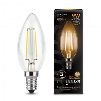 103801109 Лампа Gauss LED Filament Candle E14 9W 2700К 1/10/50, шт