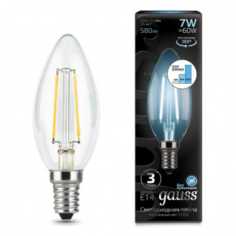 103801207-S Лампа Gauss LED Filament  Candle E14 7W 580lm 4100K step dimmable 1/10/50, шт