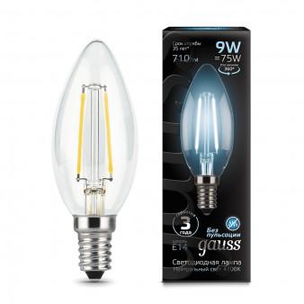 103801209 Лампа Gauss LED Filament Candle, E14, 9W, 4100K 1/1/50, шт