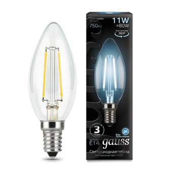 103801211 Лампа Gauss LED Filament Свеча E14 11W 750lm 4100К 1/10/50