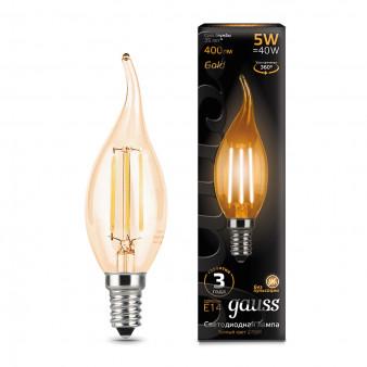 104801005 Лампа Gauss LED Filament Свеча на ветру E14 5W 400lm 2700K Golden 1/10/50