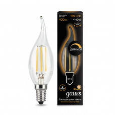 104801105-D Лампа Gauss LED Filament Свеча на ветру dimmable E14 5W 420lm 2700K 1/10/50