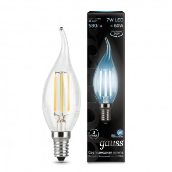 104801207 Лампа Gauss LED Filament Candle tailed E14 7W 580Lm 4100К 1/10/50, шт