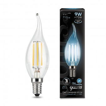 104801209 Лампа Gauss LED Filament Candle tailed, E14, 9W, 4100K 1/1/50, шт