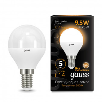 105101110 Лампа Gauss LED Globe E14 9.5W 890Lm 30000K 1/10/50