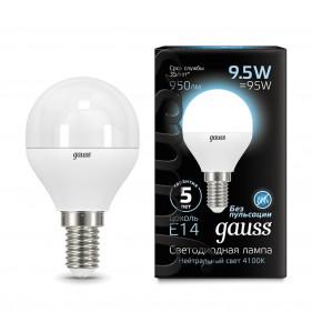 105101210 Лампа Gauss LED Globe E14 9.5W 950Lm 4100K 1/10/50