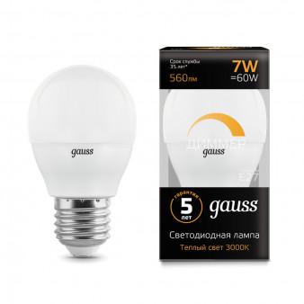 105102107-D Лампа Gauss LED Globe-dim E27 7W 560Lm 3000K диммируемая 1/10/100
