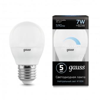 105102207-D Лампа Gauss LED Шар-dim E27 7W 590lm 4100К диммируемая 1/10/100