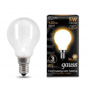 105201105 Лампа Gauss LED Filament Globe OPAL E14 5W 2700К 1/10/50, шт