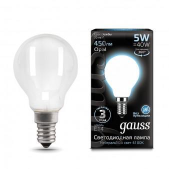 105201205 Лампа Gauss LED Filament Globe OPAL E14 5W 4100К 1/10/50, шт