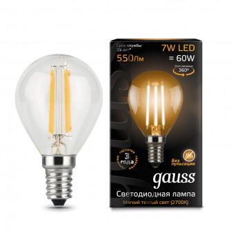 105801107 Лампа Gauss LED Filament Globe E14 7W 2700К 1/10/50, шт