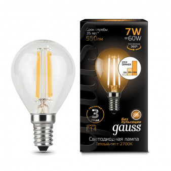 105801107-S Лампа Gauss LED Filament  Globe E14 7W 550lm 2700K step dimmable 1/10/50, шт