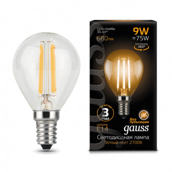 105801109 Лампа Gauss LED Filament Globe, E14, 9W, 680Lm 2700K 1/10/50, шт
